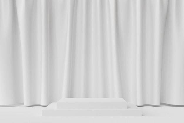 Quadratisches podium oder podest für produkte auf weißem hintergrund mit vorhängen, minimaler 3d-rendering