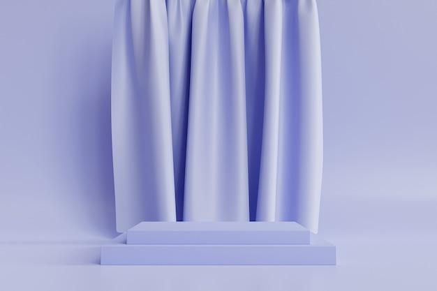 Quadratisches podium oder sockel für produkte auf neutralem blauem hintergrund mit vorhängen, minimaler 3d-illustrationsrender