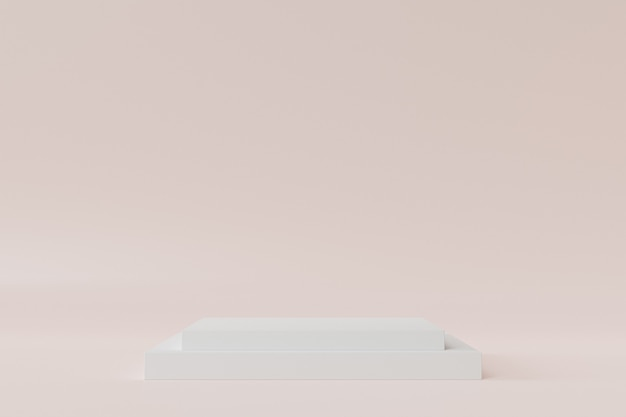 Quadratisches podium oder sockel für produkte oder werbung auf beigem hintergrund, minimale 3d-illustration rendern