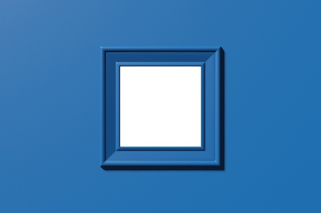 Quadratisches rahmenmodell. vorlage für bild, foto, text. stilvolle minimale abstrakte horizontale szene, platz für text. trendige klassische blaue farbe. 3d-rendering