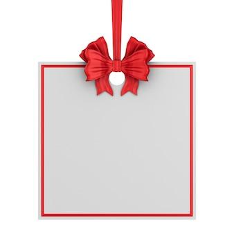 Quadratisches weihnachtsetikett mit rotem band und bogen auf weißem hintergrund. isolierte 3d-illustration