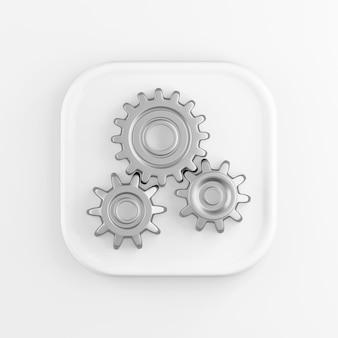 Quadratisches weißes knopfsymbol der 3d-wiedergabe, chromzahnräder lokalisiert auf weißem hintergrund.