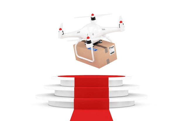 Quadrocopter-drohnen mit paket über runder weißer sockel mit stufen und einem roten teppich auf weißem hintergrund. 3d-rendering