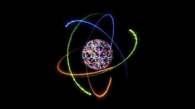 Quantenfuturistische computeranimation abstrakter pastellton-lichtkugelball und hellblauer kern mit atom, das sich durch unendlichkeit der orange-feuergrünen natur und der blauen donnernergie bewegt