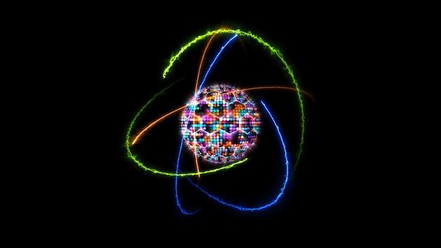 Quantenfuturistische computeranimation abstrakter pastellton-lichtkugelball und heller farbkern mit atom, das sich durch unendliche orange feuergrüne natur und blaue donnerenergie bewegtth