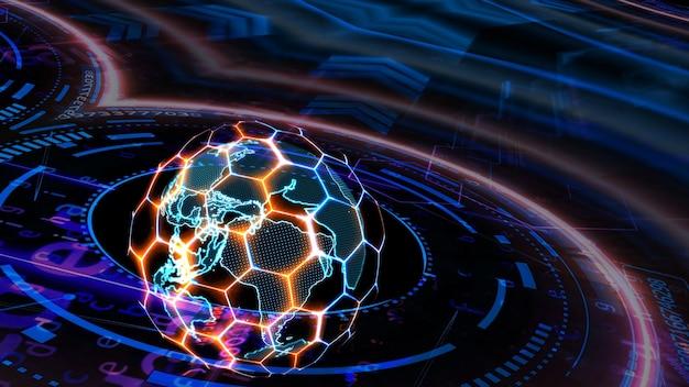 Quantenfuturistischer technologiecomputer mit digitalem ringsechseck und rotblauer laseranimationsabdeckung sowie schutz- und erdkarte mit längen- und breitengradabtastung