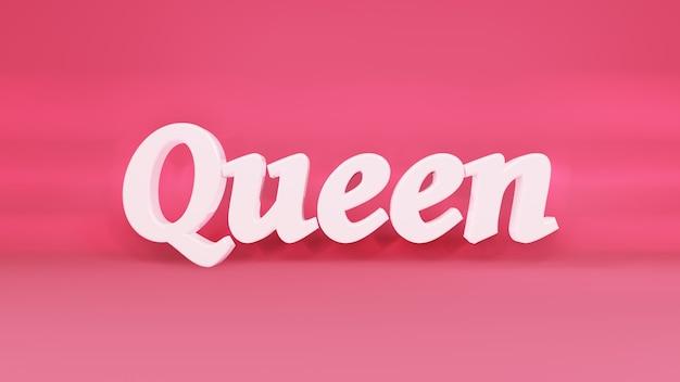 Queen 3d-logo auf hintergrund mit schatten