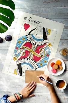 Queen card feminine frauen grafik
