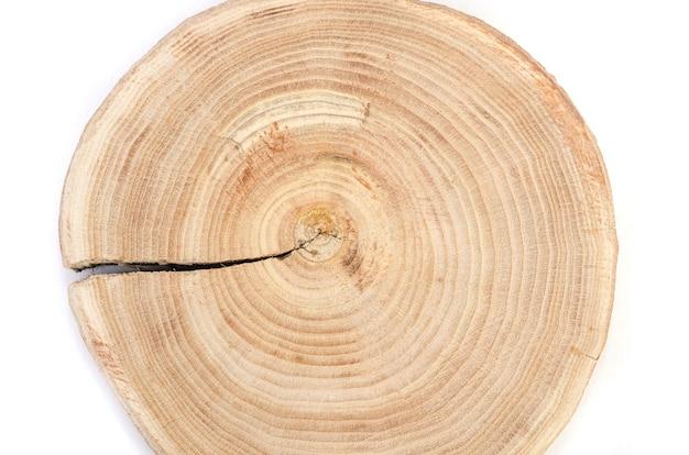 Querschnitt einer geschnittenen holzstammscheibe mit wellenmusterrissen und ringen, die aus dem wald gesägt wurden