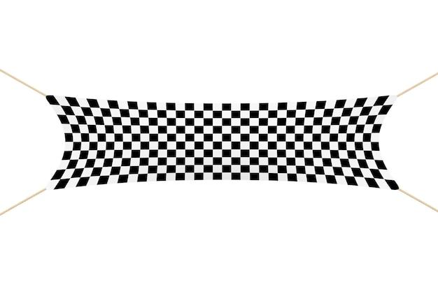 Racing finish checkered banner mit seilen auf weißem hintergrund. 3d-rendering.