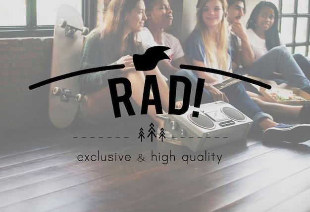 Rad! weinlese-vektor-grafik-konzept