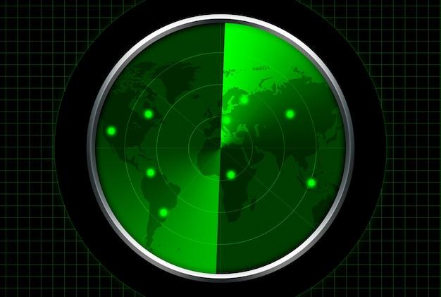 Radar mit grüner anzeige. ziele werden auf der radarkarte aufgelistet.