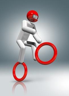 Radfahren bmx 3d charakter, olympische sportarten