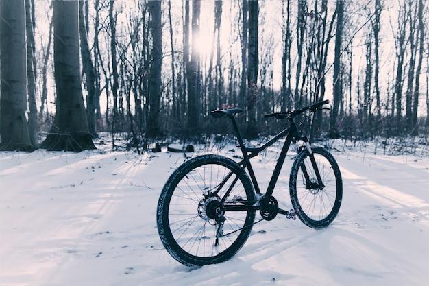 Radfahren im winter. im wald