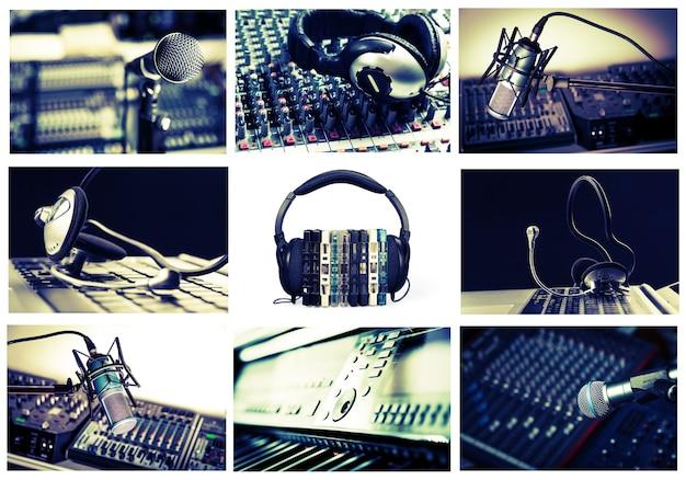 Radio, tonstudio-collage