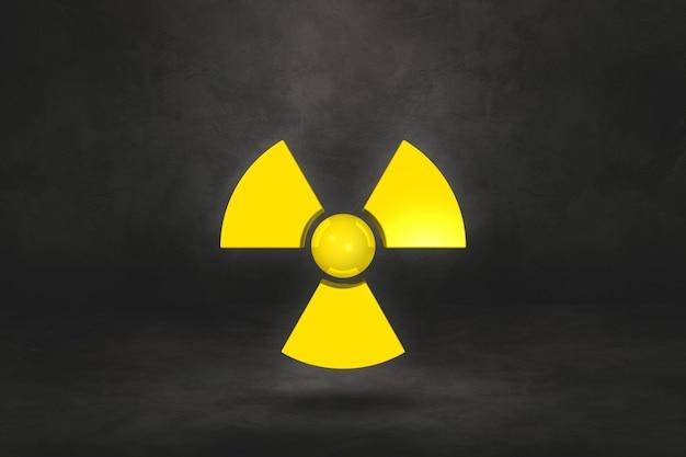 Radioaktives symbol lokalisiert auf einem schwarzen studiohintergrund. 3d-illustration