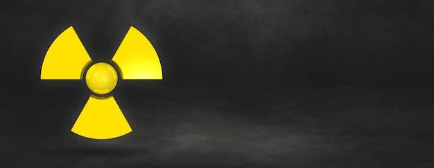 Radioaktives symbol lokalisiert auf einem schwarzen studiohintergrundfahne. 3d-illustration