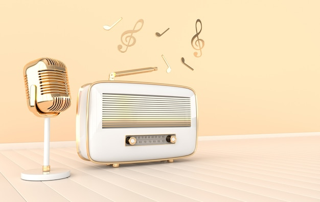 Radioempfänger und mikrofon im vintage-stil
