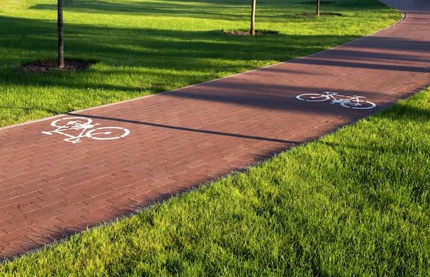 Radweg mit fahrradschildern auf der straße im stadtpark mit grünem rasen. sicheres fahrradkonzept.