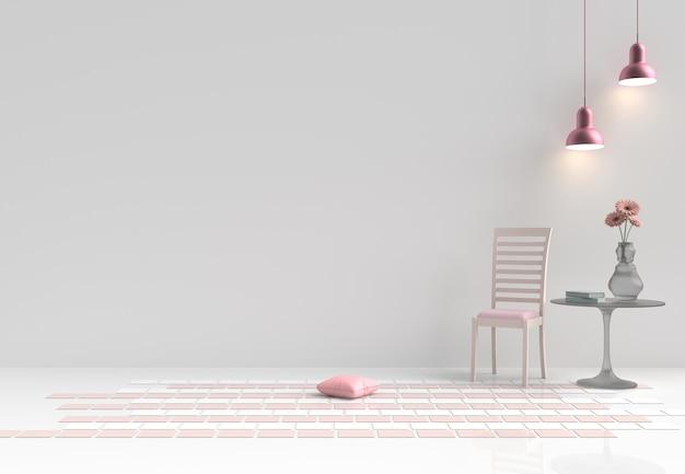 Räume der liebe am valentinstag. dekor mit stuhl, blume, kissen, rosa lampe. 3d übertragen.