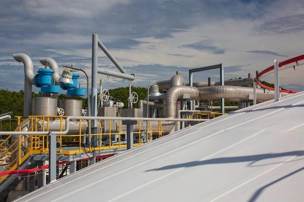 Raffinerieanlagenausrüstung für pipeline-öl- und gasventile am gasdachtank.