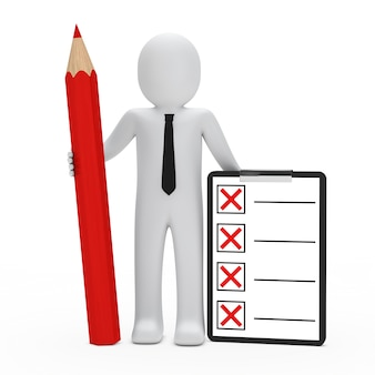 Rag doll mit einem roten stift und checkliste
