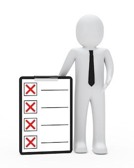 Rag doll mit einer checkliste