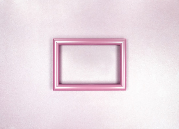 Rahmen an der wand, minimalistisches zartes rosa monochromes foto.