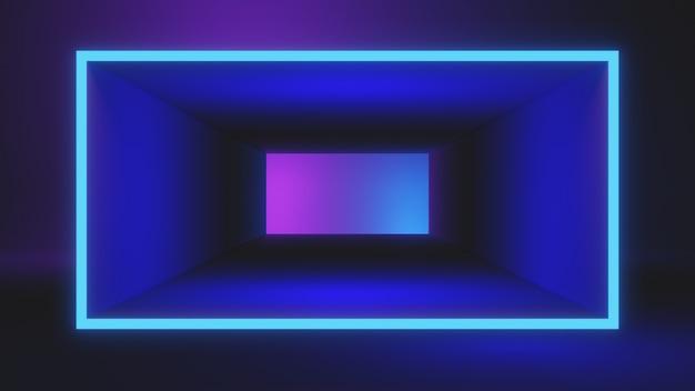 Rahmen auf blauer und rosa farbverlaufshintergrundschablone, 3d-darstellung