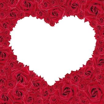 Rahmen aus den roten rosen in form des herzens