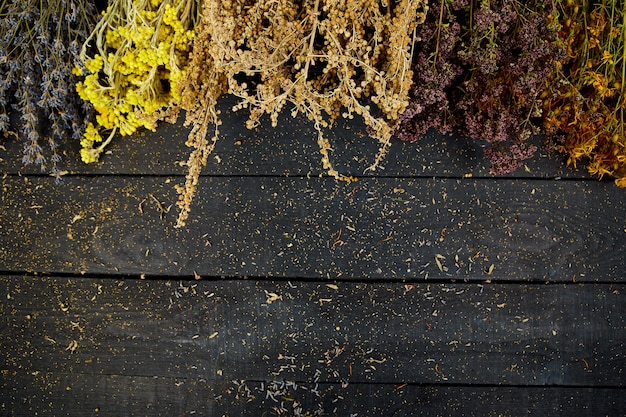 Rahmen aus trockenen kräuterblumen