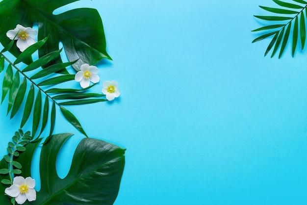 Rahmen der tropischen blätter monstera und palme auf rosa hintergrund. draufsicht, flach liegen.