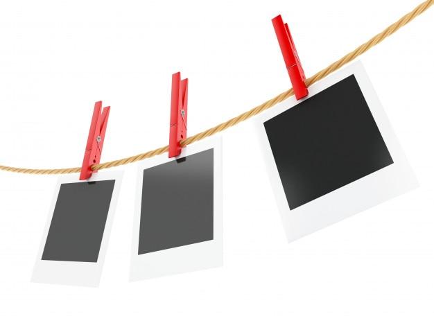 Rahmen des fotos 3d, die an der wäscheleine hängen.