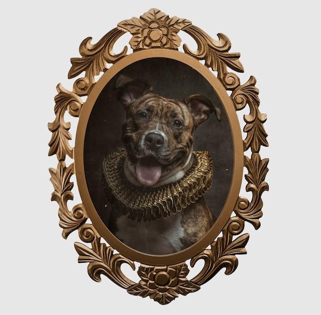 Rahmen eines hundes im renaissancestil