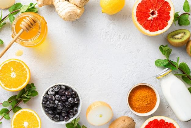 Rahmen gesunder produkte zur stärkung der immunität