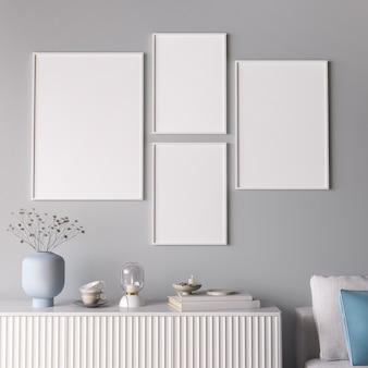 Rahmen in minimaler raumgestaltung, trendige wohnkultur
