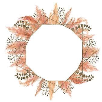 Rahmen mit aquarell-pampasgras am außenrand
