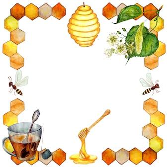 Rahmen mit bienenwaben lindenblütenstand ein holzlöffel eine tasse tee und ein bienenstock