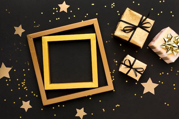Rahmen mit geschenken daneben