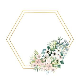 Rahmen mit kleinen blüten aus actinidia, bouvardia, tropischen und palmblättern