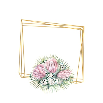Rahmen mit proteablüten, tropischen blättern, palmblättern, bouvardienblüten