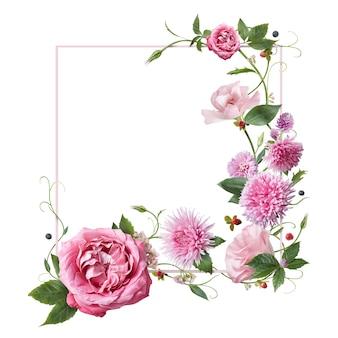 Rahmen mit rosa blumen, blättern und blütenblättern lokalisiert auf weißem hintergrund. draufsicht, flach liegen