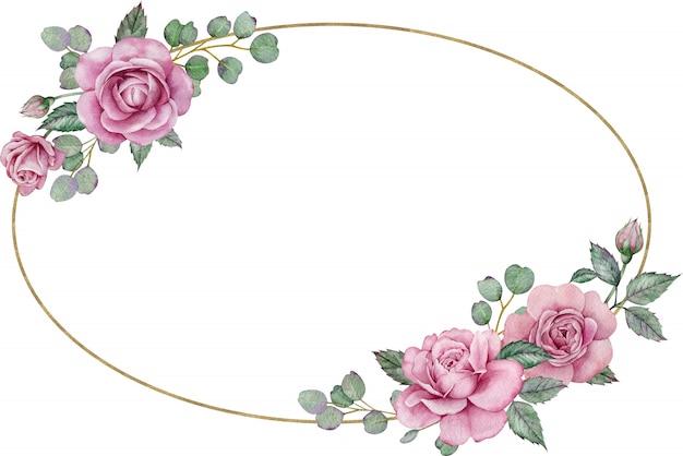 Rahmen mit rosa rosen. von hand gezeichneter ovaler blumenhochzeitsrahmen des aquarells. valentinstag vorlage.