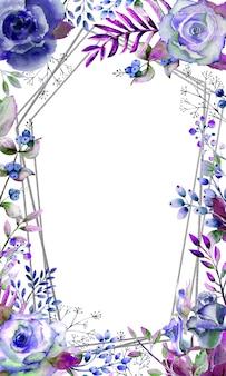 Rahmen mit rosen, blättern, beeren, dekorativen zweigen. hochzeitskonzept mit blumen. aquarellkomposition in blautönen für grußkarten oder einladungen.