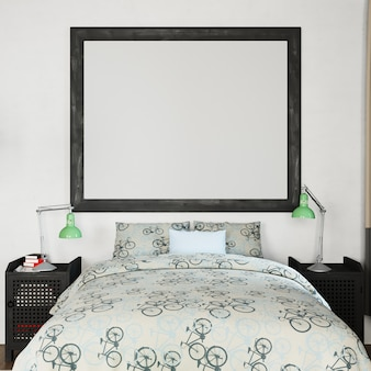 Rahmen-mock-up im schlafzimmer
