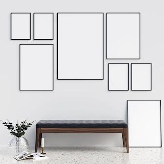 Rahmen mock-up mit minimalistischen dekorationen