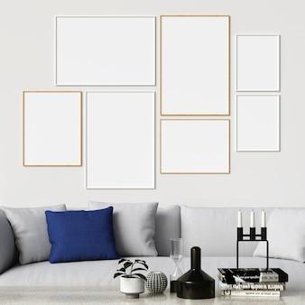Rahmen-modell auf weißer wand mit sofa und dekorationen