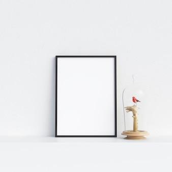 Rahmen-modell-plakat-modell im weißen innenraum mit dekoration