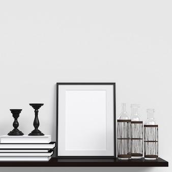 Rahmen-modell-plakat-modell im weißen wand-innenraum mit dekoration