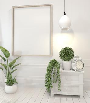 Rahmen und dekorationspflanzen auf kabinett im weißen wohnzimmerinnenraum